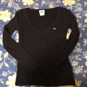 LACOSTE Long Sleeve Cotton Top with Low cut V Neck